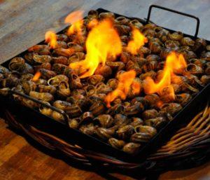 Caracoles a la llauna comida típica de Lleida